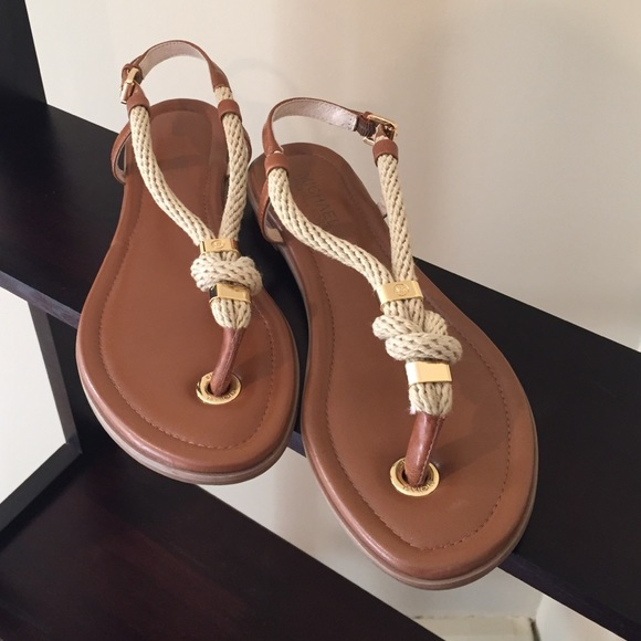 ee4114161515 Michael Kors  Holly  Rope Trim Leather Sandals. M 5a511952077b97555301554f